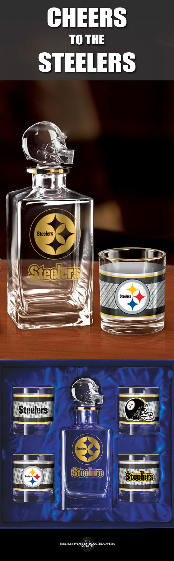 Raise a toast to your Pittsburgh Steelers with a handsome 5-piece decanter set. This officially-licensed NFL barware set includes a crystal-clear decanter with a team helmet stopper, 4 team icon glasses rimmed in gleaming 12K gold and a satin-lined gift box