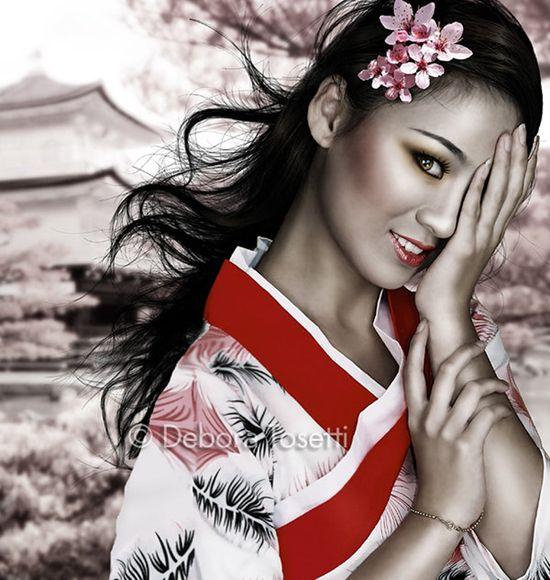 Japanese geisha girl digital art by john wills