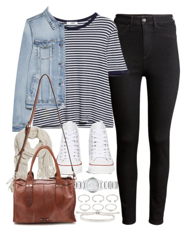 """""""Outfit for college with black jeans and Converse"""" by ferned ❤ liked on Polyvore featuring H&M, MANGO, Converse, Burberry, With Love From CA, Forever 21 and Monica Vinader"""