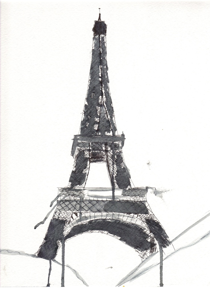 Eiffel Tower. Ink and watercolor