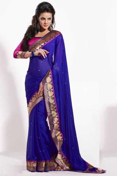 Lovely Pink and Blue Pre-Pleated Bridesmaid Saris