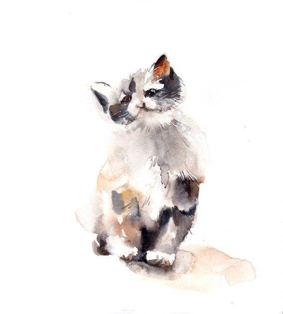 Kitten Original Watercolor Painting Cat Painting Cat Art