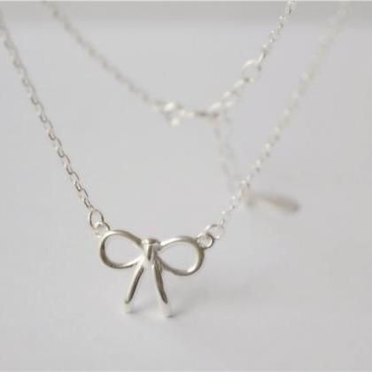 Silver bow necklace, tiny bow pendant necklace
