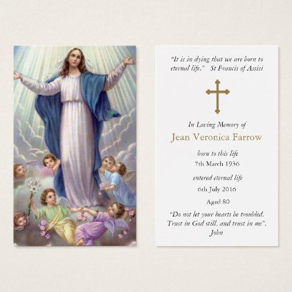 Funeral Prayer Card | Our Lady Holy Rosary - template gifts custom diy customize