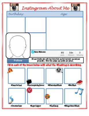 Instagram All About Me from MskcPotters Magical Shop on TeachersNotebook.com -  (1 page)  - Instagram All About me Activity  Perfect for Back to School!