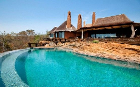 Architecture:Stylish Pool Design For Classy And Unique Villa Design With Natural Rocks Design A Marvellous South African Villa that Captivat...