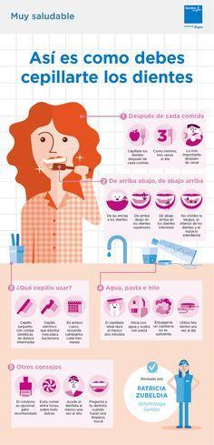 Cómo cepillarse los dientes correctamente. #infografía #dientes www.clinicadentalmagallanes.com