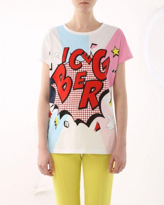 T-shirt with comic-style maxi-logo Iceberg #Iceberg #Tshirt #cartoon #fashion #style #stylish #love #socialenvy #me #cute #photooftheday #beauty #beautiful #instagood #instafashion #pretty #girl