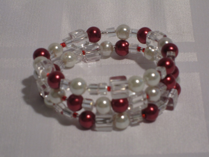 Ultra cute red, white and clear bead memory wire bracelet