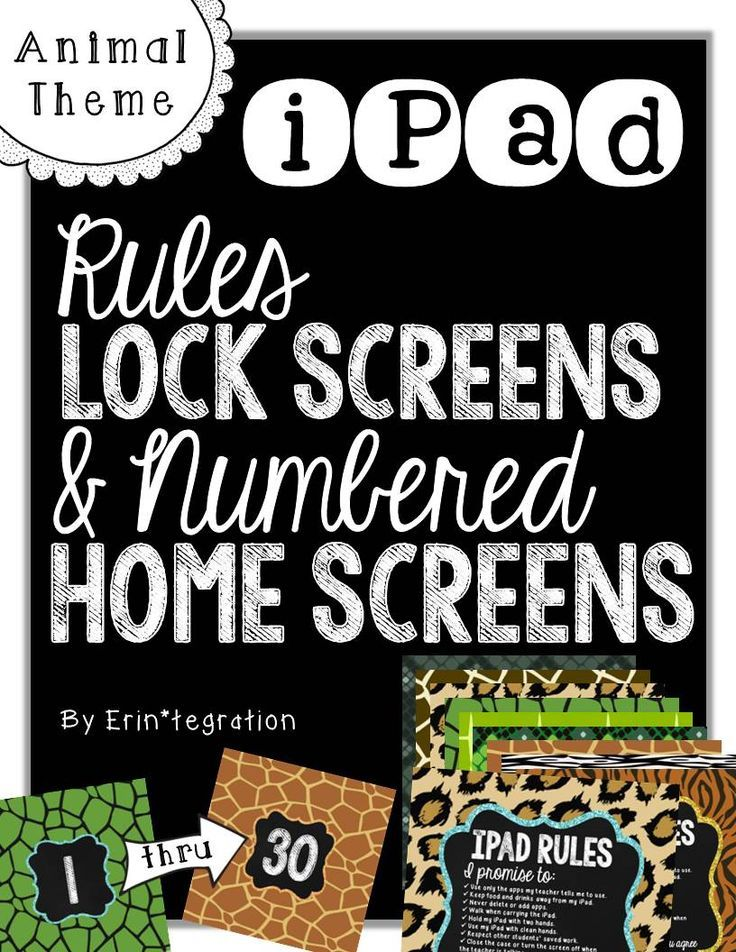 "★ Hold students accountable for iPad rules every time they ""swipe right to unlock"" with beautiful photo background with rules printed on the front.  ★ Organize class iPads or iPads in a shared cart with coordinating numbered background images.  Numbers #1-30 plus lock screens included.  Many more themes too at the source."