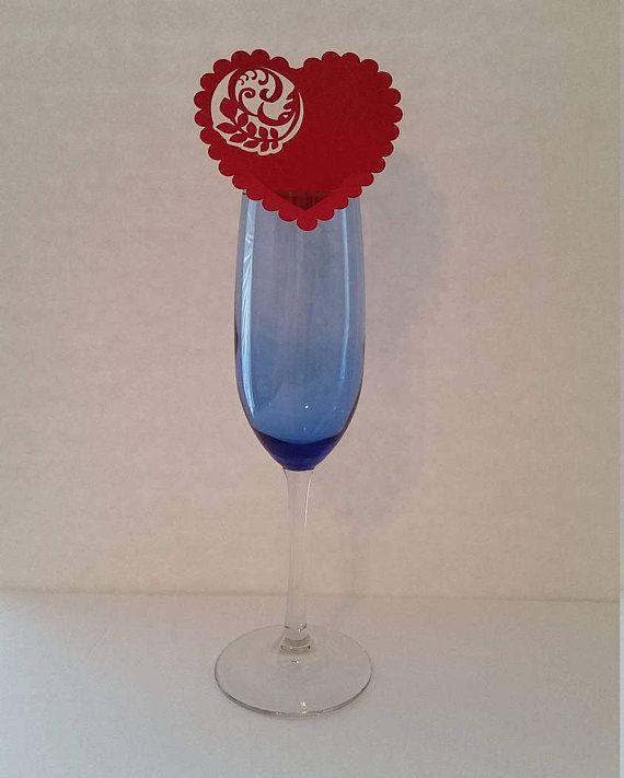 Heart Scallop Wine Glass Card Heart Glass Place Card Heart