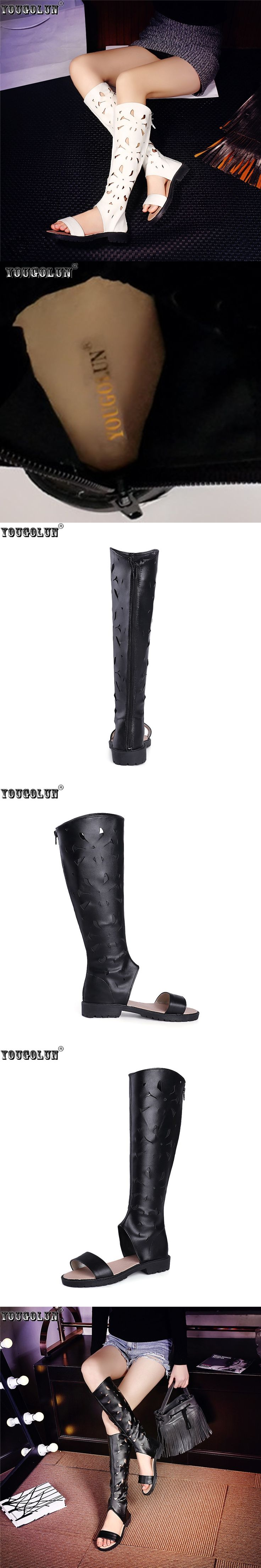 YOUGOLUN woman fashion summer thigh high boots women cut outs knee high boots womens low heels shoes women's open toe sandals