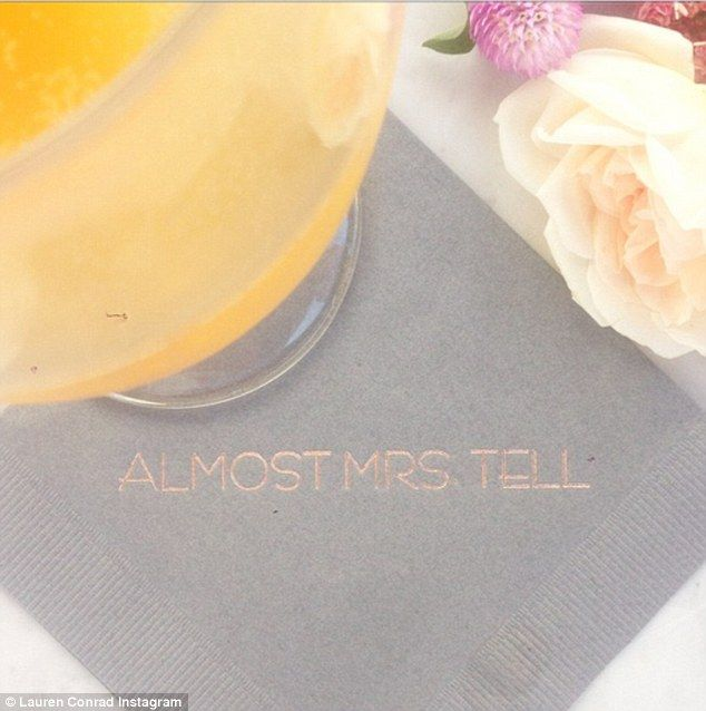Future Mrs. Tell: The former Hills star also shared a cute snap of a cocktail napkin from the shower that had 'Almost Mrs. Tell' printed on the front