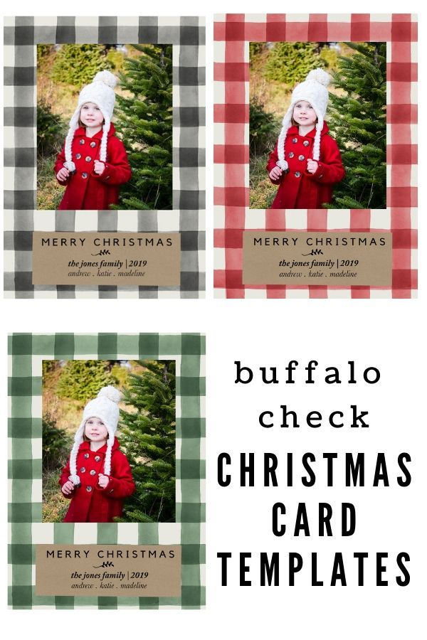 Buffalo Check Christmas Card Templates Christmascards Holidaycards Christmascardtemp Christmas Card Template Christmas Card Templates Free Diy Holiday Cards