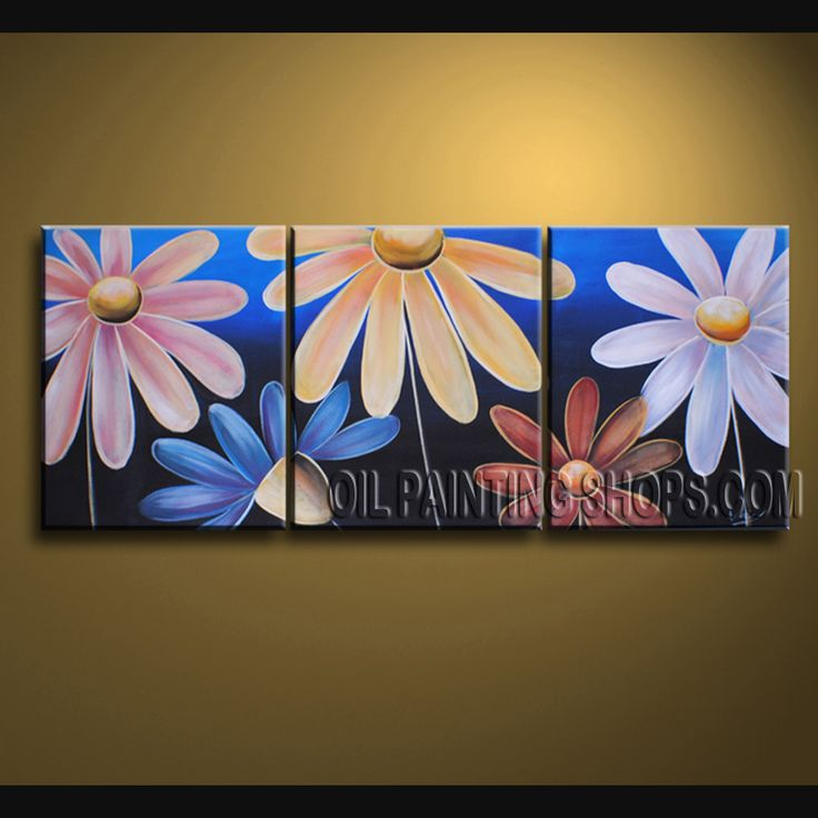 Large Wall Decorating Ideas High Quality Oil Painting Gallery Stretched Egg Flower. This 3 panels canvas wall art is hand painted by Bo Yi Art Studio, instock - $125. To see more, visit OilPaintingShops.com