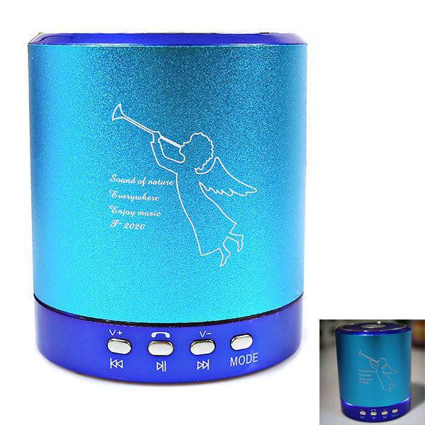 T-2020 Portable Mini Media Player Speaker 2-CH w/FM TF USB Mic Line-in Blue #T2020PortableMiniSpeaker
