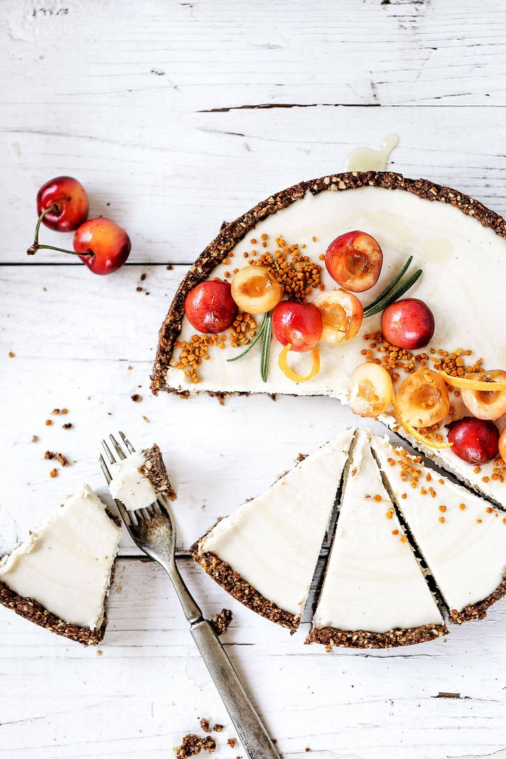 Raw vanilla bean and cherry cheesecake made with whole food ingredients. An easy paleo and dairy free recipe for healthy dessert.