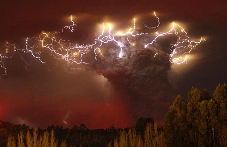 This takes my breath away.  Lightning flashes around the ash plume above the Puyehue-Cordon Caulle volcano chain near Entrelagos, Chile