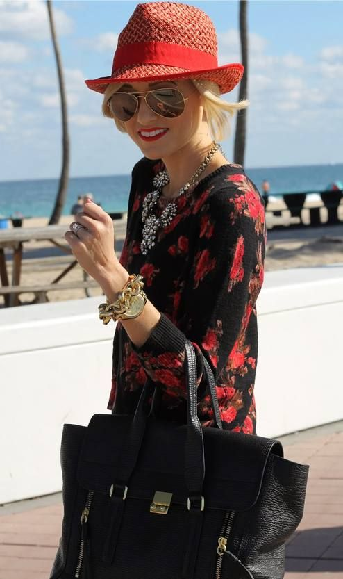 Fedora...  #Winter Casual Women Fashion Streetstyle #A Spoonful Of Style #Fedora and floral Sweater #Tory Burch Hat #Floral Haze Sweatshirt #Large Black Tote