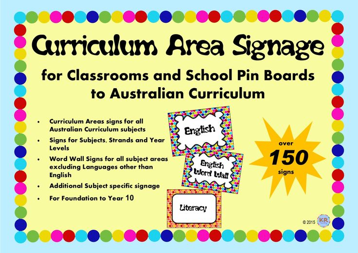 Signs for every area of the Australian Curriculum, subject, learning area, strand, sub-strand and lots of themes including word wall titles for pinboards or noticeboards or classroom displays! Bright and colourful!