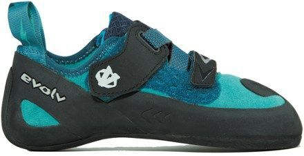 The anatomical design of the women's evolv Kira climbing shoes gives them a comfortable fit without sacrificing performance. They're great for all-around climbing, including slabs and cracks. Available at REI, 100% Satisfaction Guaranteed. #climbingshoes