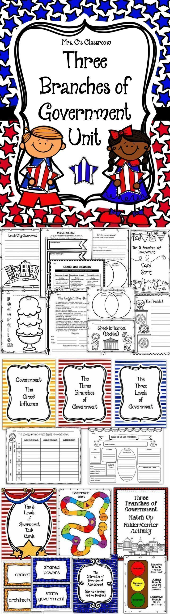 This Three Branches of Government is a large unit that includes a section of the Greek influence on United States government, a large section on the three branches of government (executive, legislative, and judicial) and the levels of government (national, state, and local).   There are activities, worksheets, graphic organizers, vocabulary cards, and more....