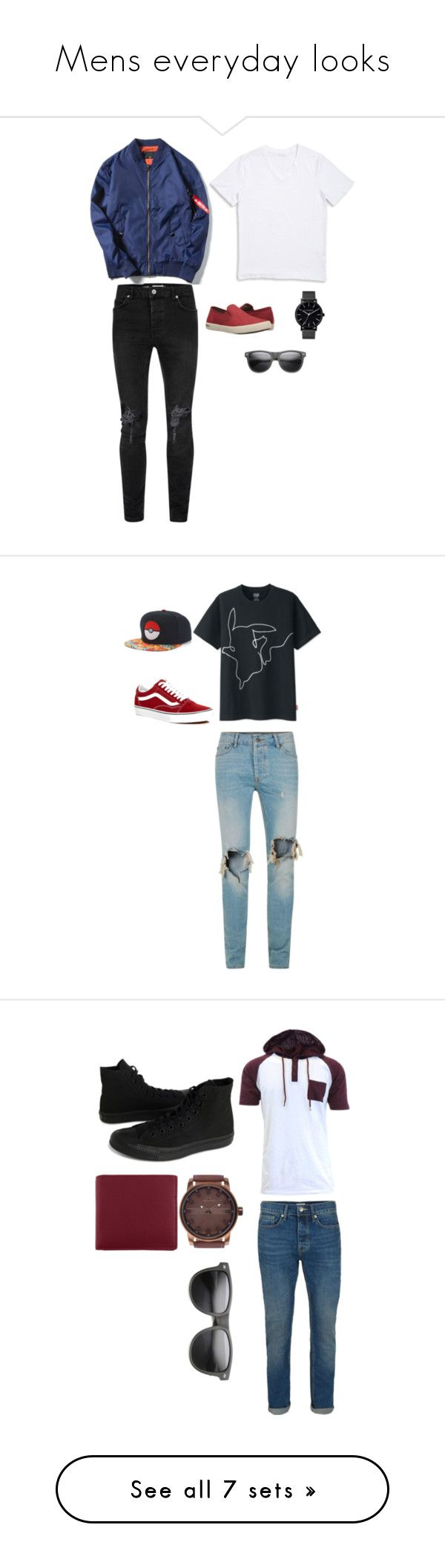 """""""Mens everyday looks"""" by catalinaeb on Polyvore featuring Topman, 1670 HBC, SeaVees, The Horse, ZeroUV, men's fashion, menswear, Uniqlo, Vans and Converse"""