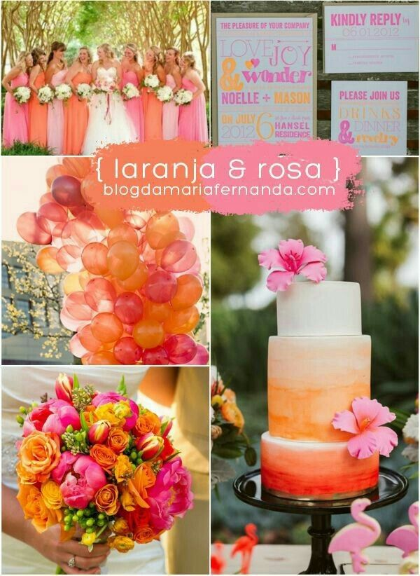 Paleta de cores laranja e rosa.  Veja mais aqui https://www.casamentos.com.br/comunidade