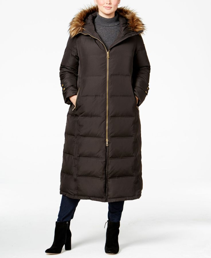 Calvin Klein Plus Size Faux-Fur-Trim Maxi Puffer Coat