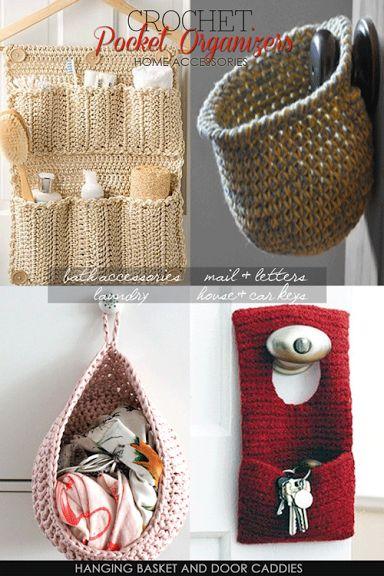 Percha con bolsillos  y cesta colgante de crochet