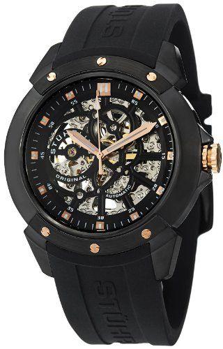 Stuhrling Original Men's 539.33561 Legacy Automatic Skeleton Black Rubber Watch