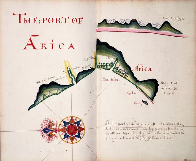 Map of the port of Arica by William Hack, 1685