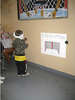 "Barefoot in Paradise: Hockey Themed Birthday Party - instead of pin the tail on the donkey, its ""put the puck in the net""!"