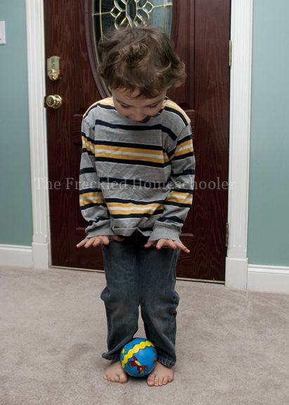 Game-Place a ball on top of child's feet and have them waddle around like a daddy penguin protecting his egg. You can also set up races where kids waddle with the ball on top of their feet.