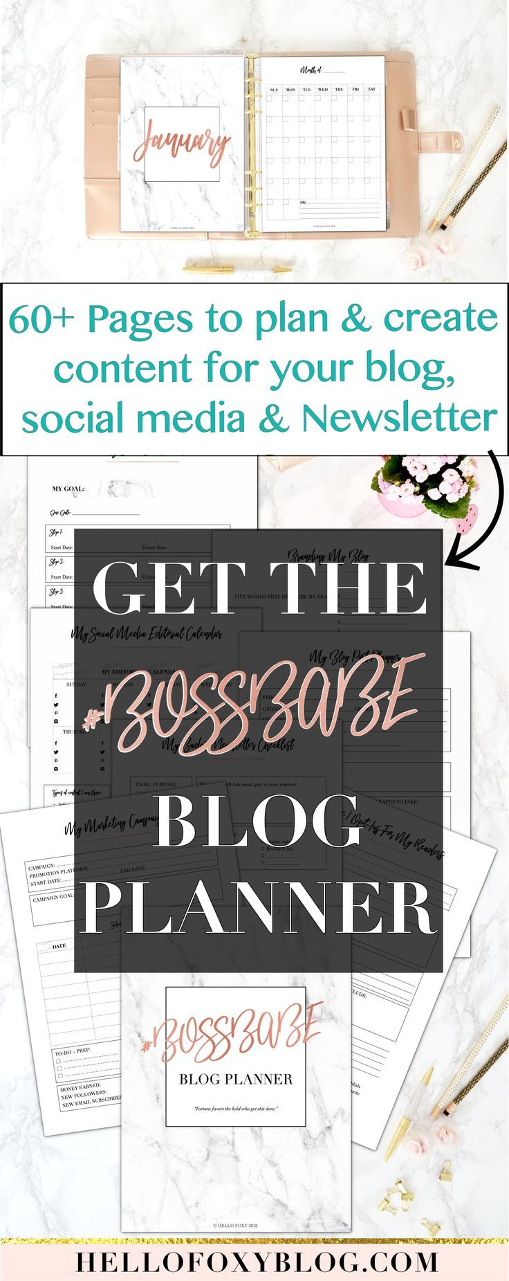 The #BOSSBABE Blog Planner has been created specifically to help you:  - Brand your blog, social media, newsletter - Set your goals and create an action plan to accomplish them - Create kick-ass content - Design your newsletter, freebies, and marketing campaigns - Keep track of your progress, stats and income - Stay motivated throughout the year - Keep all of your notes and infos in one place.