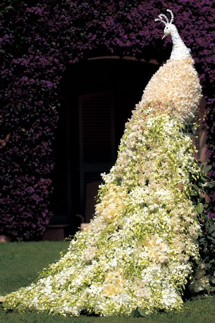 Preston Bailey floral peacock sculpture