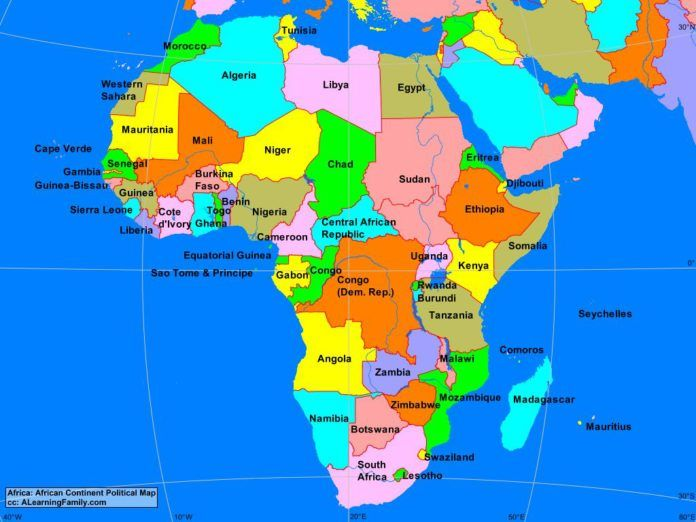 African continent political map cc A Learning Family