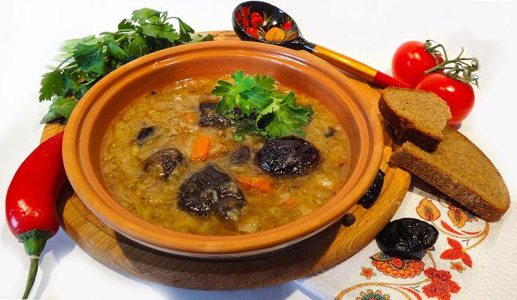 Постные щи на овощном бульоне с черносливом, грибами. Shchi - Mushroom Vegetable Soup. Удивительная история