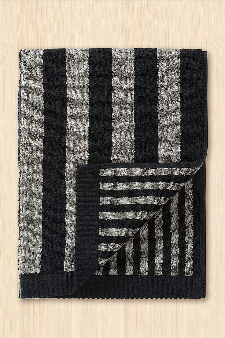 Marimekko Towel Kaksi Raitaa, 50x100 cm - Gray - Home & Decor - Ellos.no