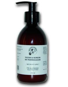 Med kallpressad, ekologisk Neemolja och extrakt av kokos, mandel och vanilj. Används efter schamponering med HundApoteket Neem & Kokos Hundschampo. Återfuktar, lugnar och mjukgör kliande/irriterad hud och lämnar pälsen glänsande ren och väldoftande av naturlig kokos och mandelolja.