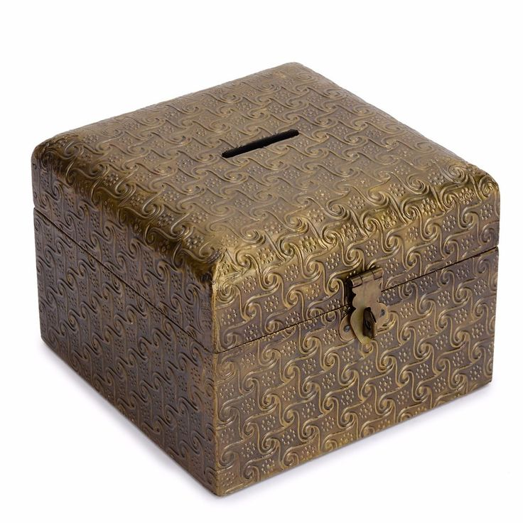 Wooden Coin Bank - Brass Coated