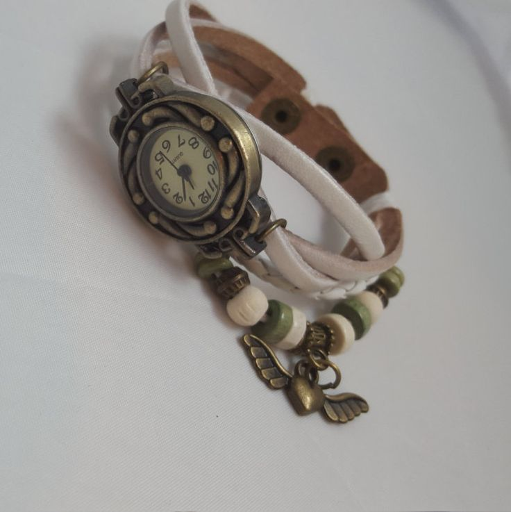Beautiful Women's Watch White With Charm -- FREE SHIPPING by SmallItemsBigValue on Etsy