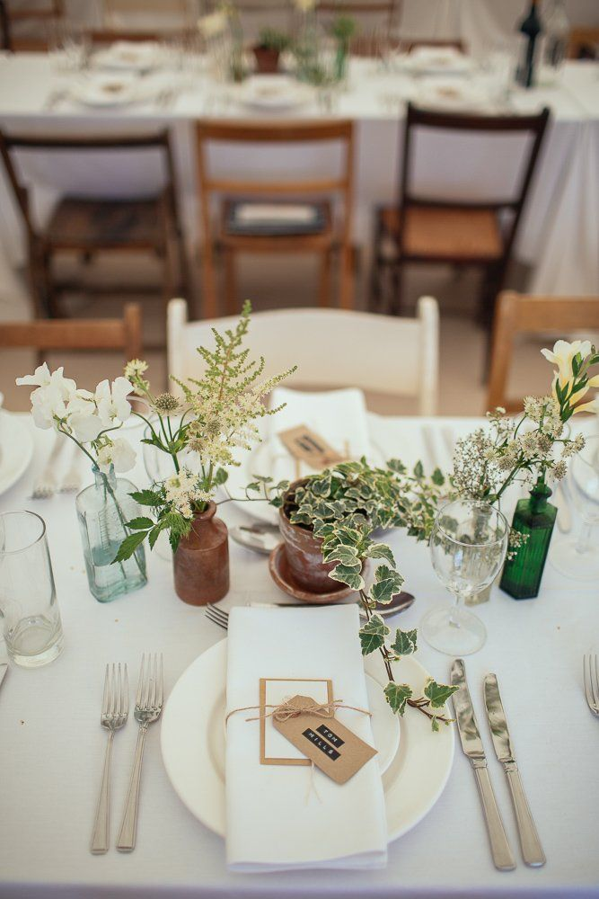 Image by Joe Stenson - A rustic back garden wedding in derbyshire with a Jenny Packham dress and a green and white colour scheme
