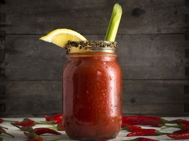 A 5-star recipe for Hot Bloody Mary made in the crock pot made with V8 vegetable juice, Italian salad dressing mix, horseradish, celery