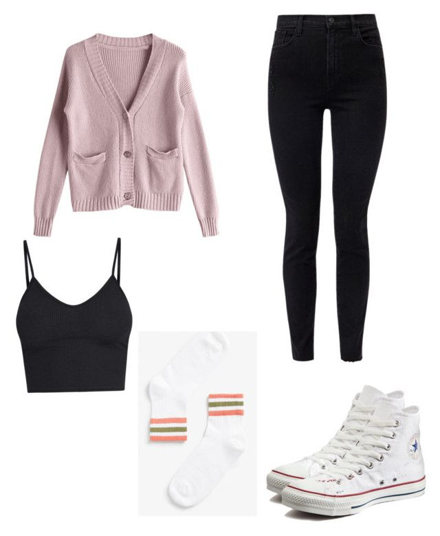 School 🤓 by kyrarosie on Polyvore featuring polyvore, fashion, style, BasicGrey, J Brand, Converse and clothing