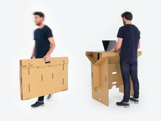 Elegant Flexible foldable portable affordable u recyclable Refold us cardboard standing desk