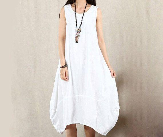 Fashion Women White Cotton Linen Front Folding Dress Loose Fit Dress