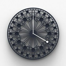 Rosone, a large wall clock with cuts and inlays, designed to create a strong visual impact. A tribute to the rose windows of Gothic cathedrals. By Eloisa Libera.