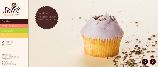 If its cupcakes you want this website shows them off well, with big images which makes you want them and simple to use navigation.