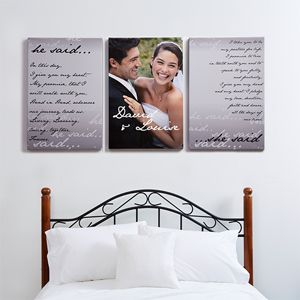 Create lasting Wedding memories with the Personalized Wedding Vows Photo Canvas Print - Split Panel - 24x36. Find the best personalized wedding gifts at PersonalizationMall.com